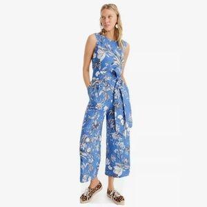 J crew linen tropical floral ratti wrap jumpsuit